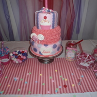 Lollipop, Gumpaste, 3 Tier, First Birthday, Pink, Purple My daughter's first birthday cake. <3