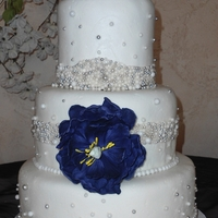 Blingy Wedding Bride wanted a cake adorned with silver dragees and white sugar pearls. I tried a couple of different techniques to attach the dragees and...
