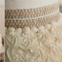 Rustic Wedding Ivory colored buttercream. Burlap Ribbon, Cakes chocolate and lemon. Vanilla buttercream.