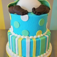 "2 Tier Baby Shower Cake With 6 Ball Pan Made Into Baby Diaperwith Fondant Baby Legs And Feet So Fun To Make 2 tier baby shower cake with 6"" ball pan made into baby diaper.with fondant baby legs and feet! So fun to make!"