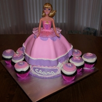 "Barbie Dress Cake And Cupcakes Barbie dress and cupcakes. used wilton wonder mold pan for dress,on top of an 8"" cake covered in fondant and used a real barbie"