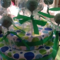 Frog Cakepop lemon cheesecake cakepop, dipped in colored white chocolate (merkins)