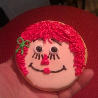 Raggedy Ann sugar cookie with royal icing