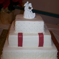 Sqaure Christmas Wedding With Red Ribbon ribbon is GP, piping BC, cake fondant. Diamond pattern was a mat.