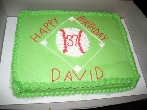 Baseball Birthday Cake I did this cake last year for my nephew's birthday. It is an 11x15 white cake with a strawberry buttercream filling.
