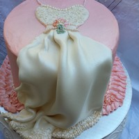Classic Wedding Dress Cake For Shower This is a white cake filled with fresh strawberries and cream, iced in Italian Meringue. The wedding dress is made from modeling chocolate...