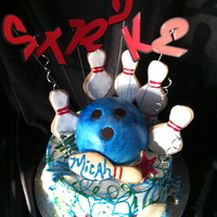 "Bowl-O-Rama For a bowling themed birthday party. Double layer 14"" triple chocolate cake with tiramisu mouse filing, BC frosting. Bowling ball made..."