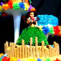 Aloha! This is my most recent cake, done for a 7 year old who requested, palm trees, sand, chocolate cake and a hula girl :) I really like how it...