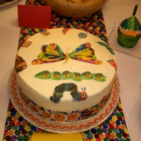 Very Hungry Caterpillar 10x4 vasnill cake with vanilla buttercream and edible images