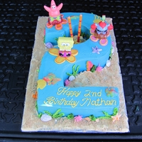 Sponge Bob I used the educated cake pan to make a number two and then put cake kit of sponge bob on the cake