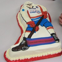 National Capitals Ovechkin Cake 4/10/11Vanilla cake with buttercream icing and 2 icing images.