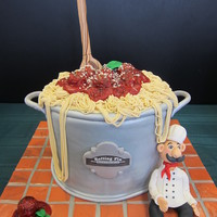 "Spaghett & Meatballs Cake This is a lemon blueberry cake with white chocolate ganache filling. It is 4 layers of 9"" round cakes."