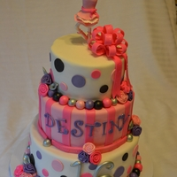 Sweet 16 Ballerina Birthday Fondant covered cake with polka dots, stripes, ribbon roses, loop bow and gumpaste figurine. Color theme of white, purple, pink, silver &...