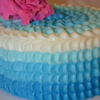 "Blue Ombre Petal Cake With Fantasy Peony  This is a very simple technique using buttercream icing in 4 colors with tip #12. I have a tutorial on my facebook page ""Celebrate..."