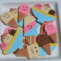 Ice Cream Party Cookies   NFSC with Royal Icing, made to match party decorations