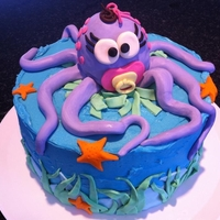 Octopus Baby Shower Cake This mom loved the under the sea theme and what better than a baby octopus with a pacifier. Dark Choc cake with a vanilla BC filling
