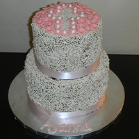 Sprinkle Baptism Cake   chocolate cake chocolate frosting with white sprinkles. Fondant accents TFL
