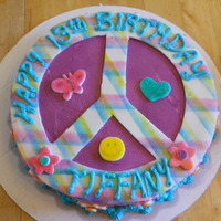 Peace Sign, Flower Power   Chocolate cake buttercream icing fondant decorations
