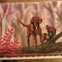 Where The Red Fern Grows Air brushed background. Dogs are piped and finished with thinned icing and paint brush. Husband didn't seem too crazy about it so was...