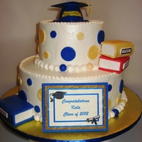"Kala's Graduation 6"" & 10"" Strawberry cake iced in all B/C. Fondant/gumpaste decor. Books RK treats covered in fondant. TFL"