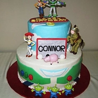 "Toy Story For Connor's 3Rd Birthday 6"" & 10"" iced in b/c with cream cheese and raspberry mousse fillings. TFL"