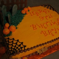 Brynn's 9Th Birthday She wanted Cherry Chip with pumpkins, a graveyard and her name so I added a couple of spider webs and some fall leaves and a fence to...