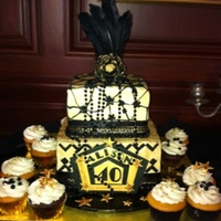 "Great Gatsby 40Th Birthday 6"" & 8"" square iced in butter cream with fondant decor. Beads and feathers non-edible."