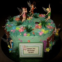 "Fairyland 10"" French Vanilla cake filled with milk chocolate buttercream. Cake is iced in all butter cream. Fairies were given by client to add..."