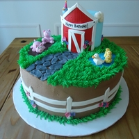 Farm Birthday Cake Buttercream with fondant and gumpaste accents.