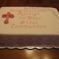 Communion Cake For My Neighbor mom had a figurine for the blank spot on the right... wasn't too thrilled with this one...but it was a last minute thing!
