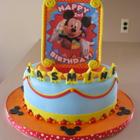 Mickey!!! image is printed and laminated...cake for a lovely friends little 2 year old! i also did her 1st birthday cake so it was nice to be asked...