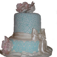 Barrel Cake With Edible Lace Sugar Bow And Sugar Peonies Barrel cake with edible lace, sugar bow and sugar peonies