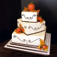 Fall Wedding Fall themed wedding cake (14-10-6). Chocolate with peanut butter buttercream, red velvet with cream cheese buttercream & gluten-free...