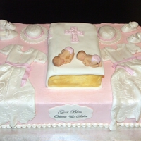 Twins Christening Cake Christening cake for my beautiful twin nieces.