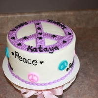 Peace White Cake/Buttercream icing, The little girl wanted groovy peace cake with hearts and stars..Last minute cake that went along with my...