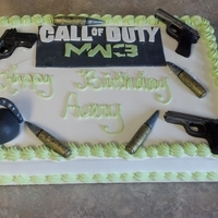 Mw3 Chocolate Cake, Whipped Icing, Fondant accessories. TFL :)