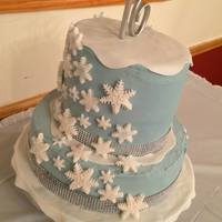 Sweet 16 Winter Wonderland Birthday Cake French Vanilla, Vanilla Buttercream, fondant snow and snowflakes with the rhinestones (not edible)