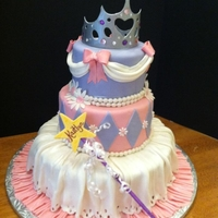 Princess Birthday Cake   14, 10, 6 in rds. all covered in fondant, fondant decorations, gumpaste crown