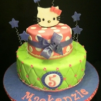 Hello Kitty Birthday 10 in. and 6 in rounds, fondant covered, gumpaste decorations