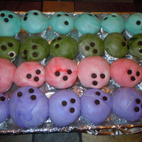 Bowling Ball Cupcakes These cupcakes were for my son's bowling birthday party - they are covered in swirled marshmallow fondant and chocolate chips for the...