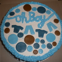 Baby Boy Shower This is a cake I made for my friend's baby shower - The dots are marshmallow fondant, and tasted very good. I colored them with Wilton...