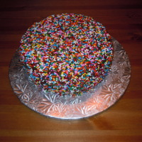 Sprinkle Cake   This is a chocolate cake, decorated with ganache and rainbow sprinkles (or jimmies if you live in Boston...)