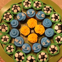 "Soccer Team Cupcakes Made for my son's soccer team, the ""Celtic Warriors"" for a soccer tournament"