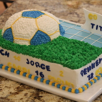 Soccer Cake made for my son's soccer tournament this weekend..it was a big hit!