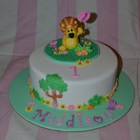 Raa Raa The Noisy Lion 8 inch chocolate buttercake with chocolate buttercream and fondant, with fondant and gumpaste Raa raa