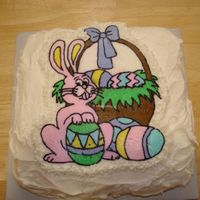 Easter Bunny Transfer   This cake was my first attempt at the transfer technique. 'Coloring' the transfer took a long time but I love the end result.