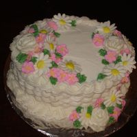 Basket Weave With Fondant Flowers Basket weave - BC - around cake with fondant flowers to decorate.