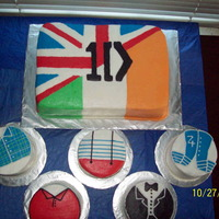 "One Direction All Butter Cream On Vanilla Cake With Strawberry Fill 9 X 13 With 5 4 Rounds One Direction - all butter cream on vanilla cake with strawberry fill (9 x 13 with 5 - 4"" rounds)"