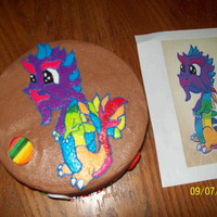 Dragonvale Rainbow Dragon Buttercream Freehand With Fondant Eggs Painted With Edible Color Pens Dragonvale Rainbow Dragon - buttercream freehand with fondant eggs painted with edible color pens