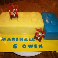 Lego Cake   Chocolate cake with Cotton Candy BC filling, with chocolate BC icing under the fondant!